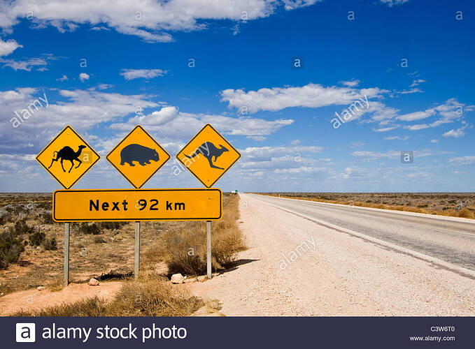 road-signs-on-the-eyre-highway-nullarbor-plain-south-australia-C3W6T0